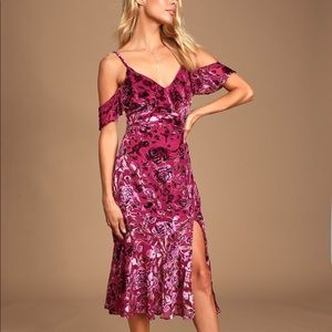 Lulu's Magenta Burnout Velvet Floral Print Dress
